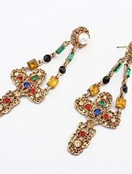 Women's Fancy Beads Pave Openwork Cross Drops Stud Earrings