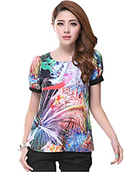 Women'S Colorful Round Neck Short Sleeve T Shirt