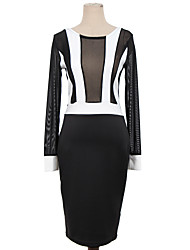 S M L XL XXL Plus Size New Fashion Women Long Sleeve Black and White Patchwork Bodycon Dress Sexy Evening Party Dress 9029