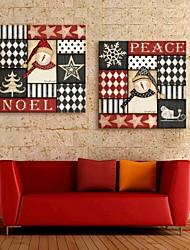 E-Home® Leinwand bist glücklich Weihnachtsdekoration Malerei Satz 2