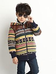 le garçon avec impression mosaïque épaissir manteau de la mode en cachemire d'hiver