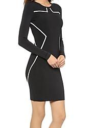 manga larga negro de las mujeres coantrat vestido bodycon ajuste blanco