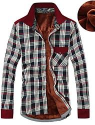 Men's Plaids Casual Shirt,Cotton Long Sleeve Blue / Green / Red