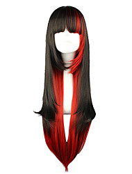 lolita pruik geïnspireerd door zwarte&rode gemengde kleur 70cm punk