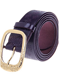 Women Fashionable Head Layer Cowhide Leather Zinc Alloy Buckle Belt