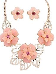 z&X® flores doces colar e brincos conjunto de jóias (1 jogo, 3 opções de cores: rosa, azul, verde)