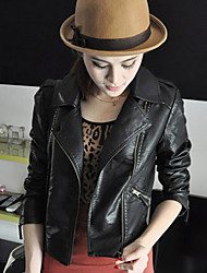 Women's Motorcycle Leather Diagonal Zipper Short Jacket