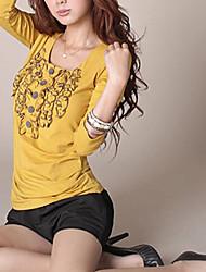 Hot Sale Korea Stringyselvedge Long Sleeve T-Shirt Yellow