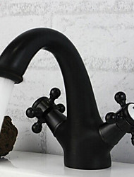 Traditional Centerset Ceramic Valve Two Handles One Hole with Oil-rubbed Bronze Bathroom Sink Faucet