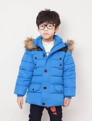 Boy's Fur Collar Stitching Elbow Patches Thickness Down
