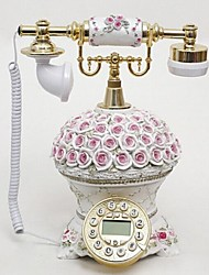 European Style Polyresin Material Home Decor Telephone with ID Display, Rose Flower
