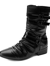 Sapatos Masculinos Botas Preto Couro Sintético Casual