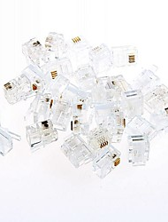 Rj11 Telephone Crystal Head Quad Phone Crystal Head 2 4 Core Line (20pcs)