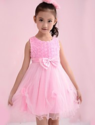 Girl's Floral Dress,Organic Cotton / Organza All Seasons Pink