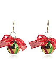 Lureme Fashion Stoving Varnish Christmas Ball-Shaped Bundle Of Coloured Silk Ribbons Alloy Drop Earrings