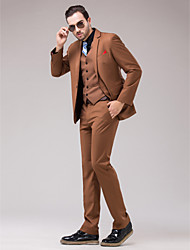 Suits Slim Fit Slim Notch Single Breasted One-button 3 Pieces Brown Straight Flapped