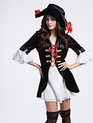 traje de halloween extravagante pirata adulto de la mujer en blanco y negro