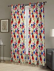 Impressionism Colorful Flower Pattern Curtain (Two Panels)