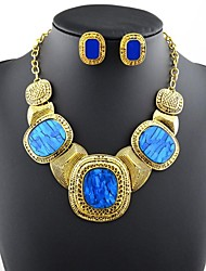 Women's Fashion Overstate Luxury Gemstone Jewelry Set:Necklace & Earrings(More Colors)