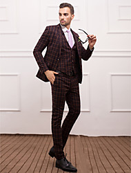 Coffee Polyester Slim Fit Three-Piece Suit