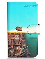 The Sea and The City Pattern PU Mobile Phone Holster With Card Slot for Samsung S5/i9600