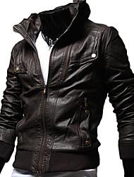 Дана мужской стенд воротник тонкий Место кожаное пальто