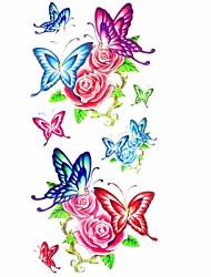 1pc Butterfly Rose Flower Animal Series Waterproof Body Art Tattoo Mold Temporary Tattoos Sticker(18.5cm*8.5cm)