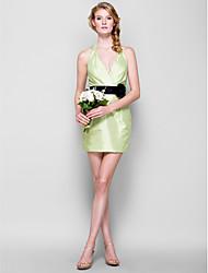 Short/Mini Taffeta Bridesmaid Dress - Sage Sheath/Column Halter