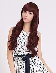 Natural Sweet Full Bang Long Wavy Synthetic Hair Wigs