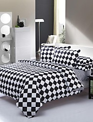 Mingjie Black and White Plaid Sanding Bedding Sets 4pcs Duvet Cover Sets Bed Linen China Queen Size and Full Size