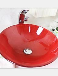 grand rouge vif or verre trempé évier de navire avec l'ensemble de robinet d'eau chaude et froide