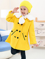 Girl's Lovely Fur Collar Bow Decor Puff Sleeve Tweed A-line Coat(with hat)