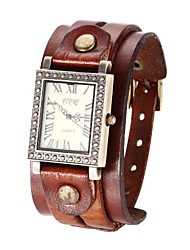 Mulan Unisex Vintage Leather Band Quartz Wrist Watch(Assorted Colors)