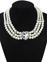 z&X® em forma de coração luxuoso jóia pingente de colar de pérolas de imitação (3 cores opções: branco, azul, vermelho)