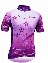 Quirell Women's Wicking Polyester Short Sleeve Cycling Suits-Purple