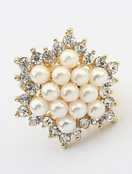 Women's Gorgeous Pearls Rhinestone Pave Floral Shape Exquisite Statement Ring