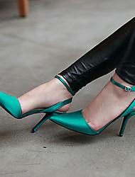sapatos femininos dedo do pé aguçado sandálias de salto stiletto cetim sapatos mais cores disponíveis