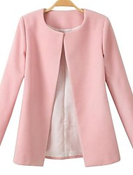 Women's Pink/White/Black Coat , Casual/Work Long Sleeve Cotton Blends
