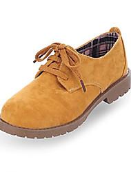 sapatos femininos dedo do pé redondo pedaços sapatos oxfords de salto reunindo mais cores disponíveis