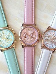 Women's Fashion Style Geneva Leather Band Quartz Analog Wrist Watch (Assorted Colors) Cool Watches Unique Watches