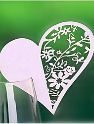 12pcs Laser Cut Lace Heart Cup Cards Name Place Card Party Decorations