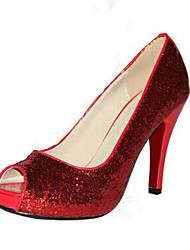 Красный - Женская обувь - Для офиса / Для праздника / Для вечеринки / ужина - Дерматин - На шпильке -На каблуках / С открытым носком / На