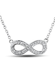 Women's Fashion Sterling Silver Platinum-Plated  Cubic Zirconia  Necklace