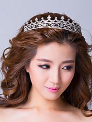 chapado en plata elegante de aleación con diamantes de imitación tiara de la princesa