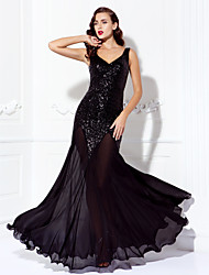 TS Couture® Dress - Black Plus Sizes / Petite A-line V-neck Floor-length Chiffon / Sequined