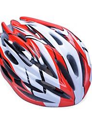 moda unisex y de alta transpirabilidad pc + epp casco de bicicleta (32vents) - rojo + plata