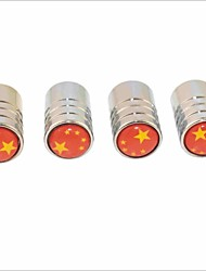 DIY Chinese Flag Pattern Universal Tire Air Valve Caps--Silver(4PCS)