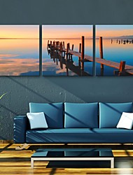 Personalized E-HOME® Canvas Print The Sea Sunset 30x30cm 40x40cm 60x60cm Framed Canvas Painting Set of 3