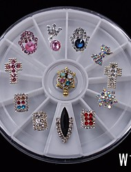 12PCS Cute Mix Marquise DIY Alloy Nail 8CM Wheel Nail Art Decoration