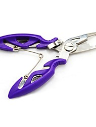 Versatile Stainless Steel Fishing Pliers Curved Nose Scissors Line Cutter Remove fish Hook Purple  Tackle Tool
